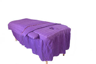 Massage Table cover with full length skirting, light blanket and armrest covers