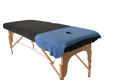 Blue Face Drape on Charcoal Massage Table Cover-353