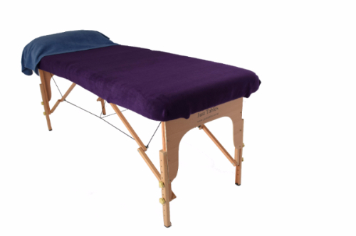 Blue Pillow Drape featuring dark purple massage table cover-73-456