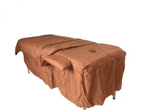 Brown Massage Table cover with skirt, blanket and arm rest covers-681