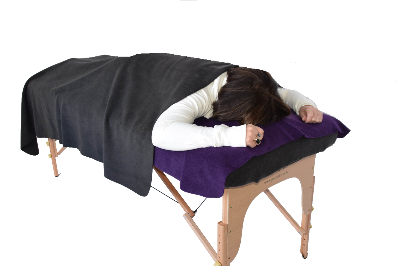 Charcoal Blanket over someone using dark purple face drape with insert-690