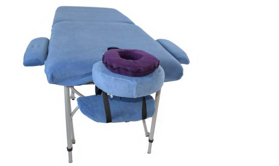 Massage Table with set of blue covers and dark blue face cushion