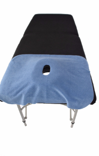 Massage table with face drape over face cushionand table cover-18-508